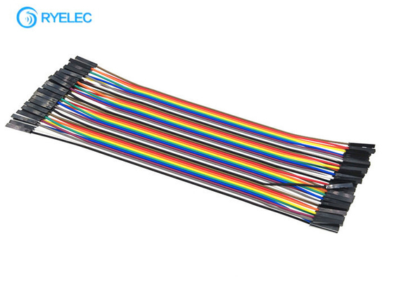 20cm 40 Pin Rainbow Ribbon Cable Female To Female Dupont Ul2651 28 Awg Flat Jumper Cable supplier