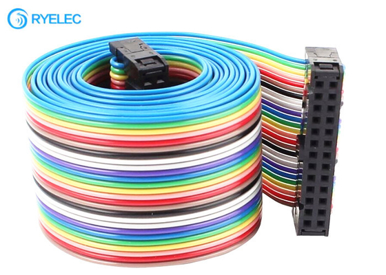 1.27mm 28 Awg 26 Pin Flat Rainbow Ribbon Cable With 2.54mm Idc Connector supplier