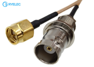 Rear Mounted Rf Coaxial Cable BNC Female To Sma Male Connector With RG178 supplier