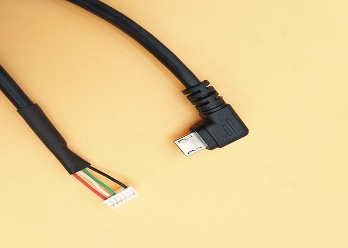 Right Angled Custom Cable Assemblies Micro USB B Male To 6 Pin Molex51021 1.25mm Pitch