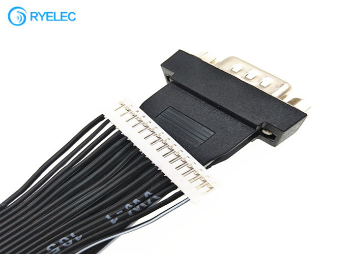 Black HDB15 Male Ends 15 Conductor Ribbon Cable Assemblies With 15 Pin Ph2.0 Plugs