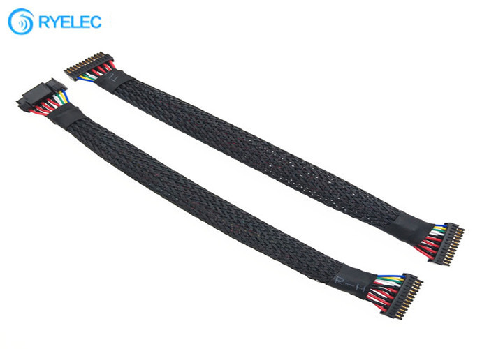 1.25mm Pitch Twisted Ul1571 Custom Wire Harness With Braided In Black Color