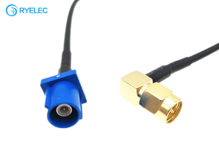 RG174 Fakra To Right Angle SMA Male Connector RF Coaxial Cable Assembly