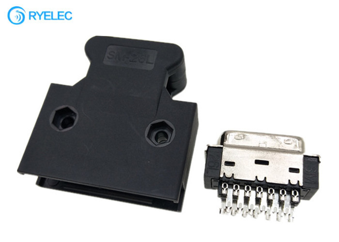 26 Pin SCSI Solder Type Buckle Latch Straight Male Connector With Plastic Hood