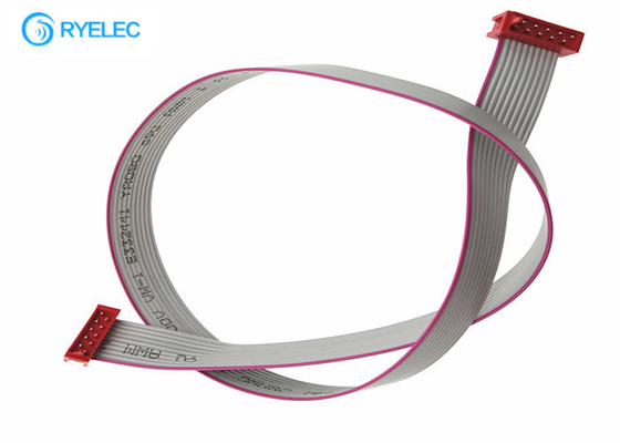 10P Male Smt Flat Ribbon Cable Assembly Red IDC Micro Match Connector Without Latch