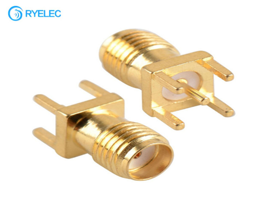 PTFE Dielectric RF Antenna Connector , Brass / Gold Plated SMA RFconnector